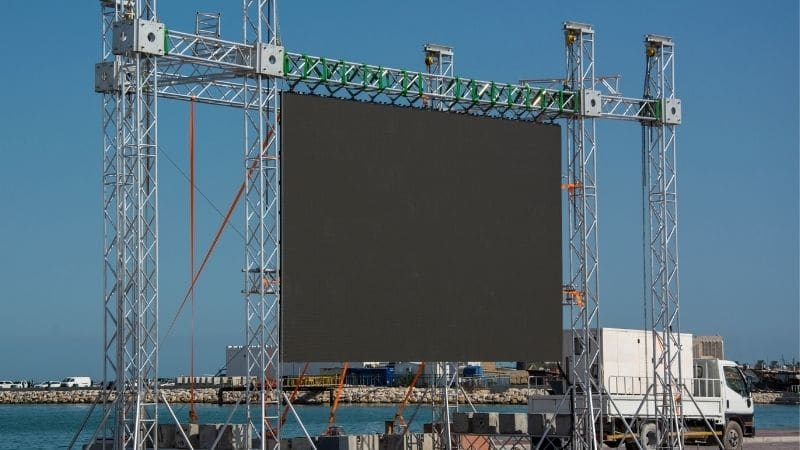 a large LED screen placed outside